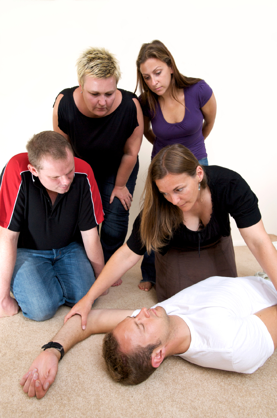 Candidates demonstrating the recovery position